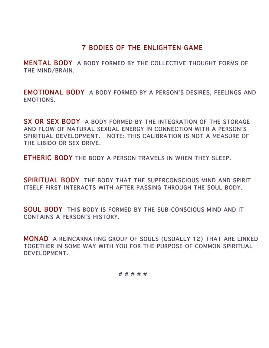 Bodies of The Enlighten Game as Defined by Bill Hungerford