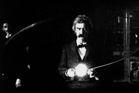 Mark Twain Plays With Electricity in Nikola Tesla's Lab