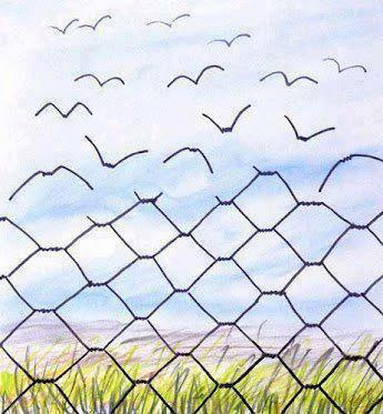 chain link fence turning into birds